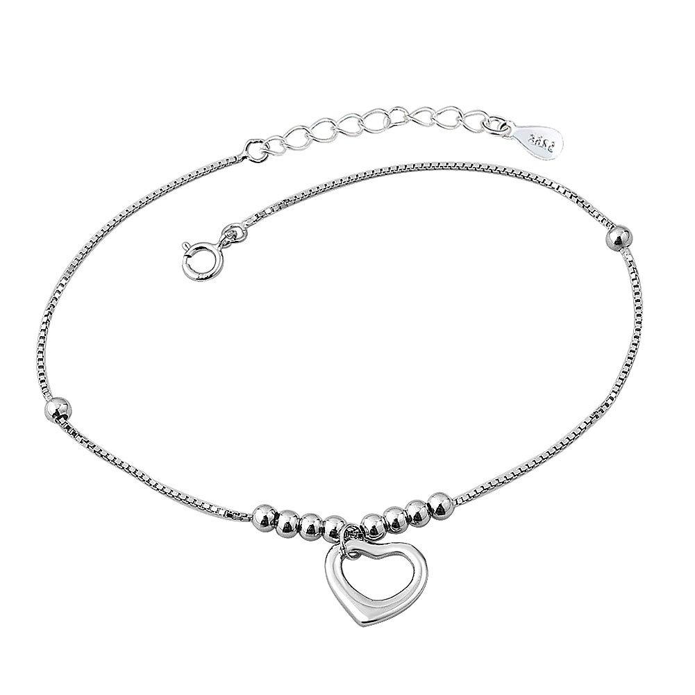 LilyJewelry Heart Love Sterling Silver Chain Anklet Ankle Bracelet