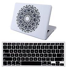 "HDE MacBook Pro 13"" (Non-Retina) Case Hard Shell Cover Designer Art Pattern + Keyboard Skin for Apple Mac 13.3"" Unibody with CD Drive - Fits Model A1278 (Mandala Black and White)"