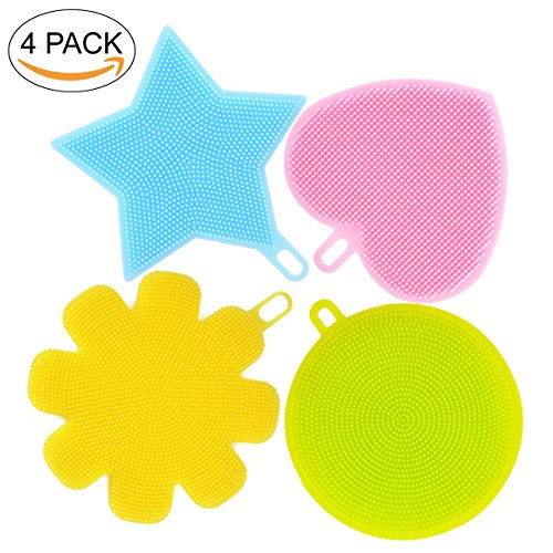 4 Pack Silicone Sponges Food-Grade Antibacterial Mildew-Free Dishwashing Scrubber