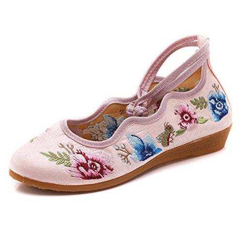 学校教育流用する極貧メアリージェーンフラットレースパーティーシューズローヒールラウンドトゥの刺繍靴