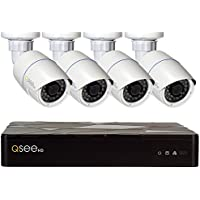 Q-See QT874-4AP-2 | HD IP Surveillance System Includes 4 Complete Solution 4MP HD Bullet Cameras, 4 Channel NVR, 2 TB Storage & 100 ft Cables | IOS/ Android App | Weather Resistant | White