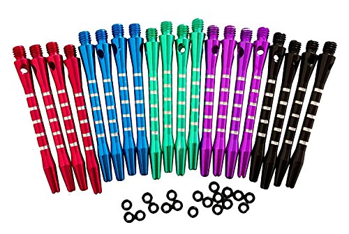 Dart Flights Shafts Darts - 5 Colors/20 Pcs Aluminum Medium Darts Shafts Dart Stems Throwing Fitting with O'ring 53mm