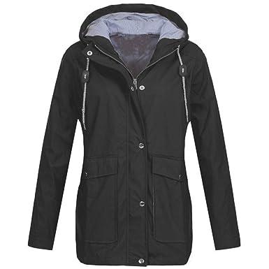 7ab655b99 vermers Clearance Womens Rain Waterproof Windproof Jacket Casual Solid  Outdoor Jackets Hooded Raincoat(US: