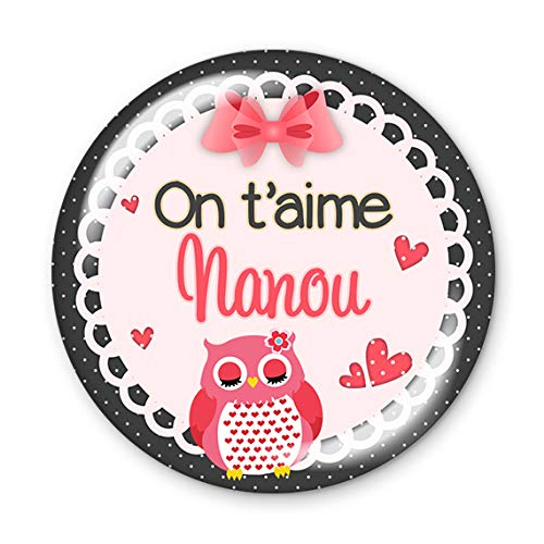 Magnet 56mm On T Aime Nanou Aimant Frigo Idee Cadeau Anniversaire Noel Divers Themes Famille Medical Ecole Amour Amazon Fr Handmade