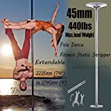 PanelTech Portable 45mm Fitness Exercise Spinning Static Dance Pole Stripper Strip Portable 440lbs