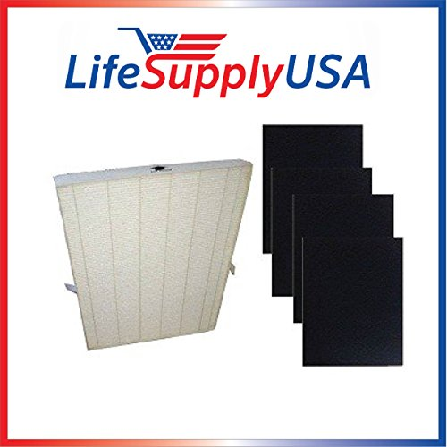 LifeSupplyUSA True HEPA Plus 4 Carbon Replacement Filters for Winix 115115 Size 21