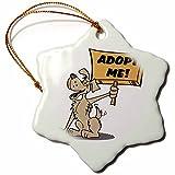 3dRose orn_117503_1 Retro Style Cartoon Dog Holding Adopt Me Sign Pet Adoption Cartoon Snowflake Ornament, Porcelain, 3-Inch
