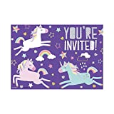 Unique 72504 Rainbow Unicorn Party Invitations, 8ct