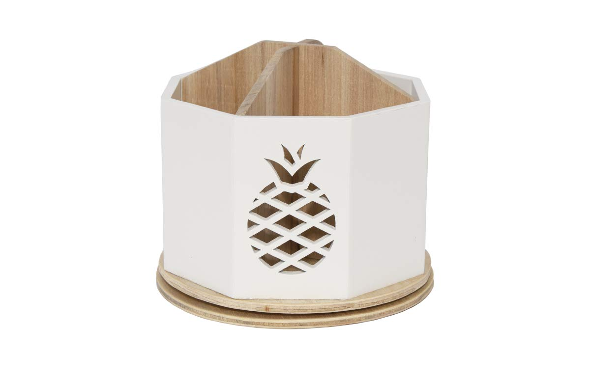 Spinning Desktop Stationary Organizer – Decorative Wooden Rotating Pen and Pencil Cup – 4 Compartment White Desk and Table Top Office Supplies Station with Pineapple Cutout - by Designstyles