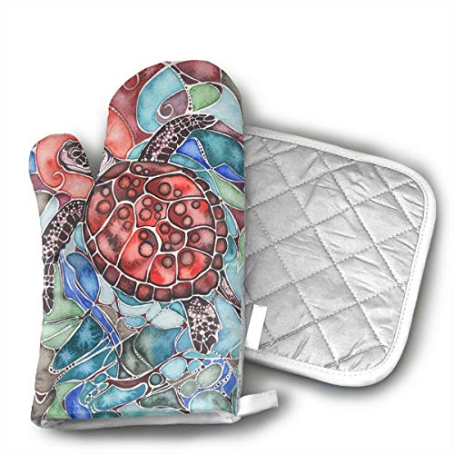 KEIOO Sea Turtle Tamara Phillips Oven Mitts and Potholders Heat Resistant Set of 2 Kitchen Set Non-Slip Grip Oven Gloves BBQ Cooking Baking Grilling