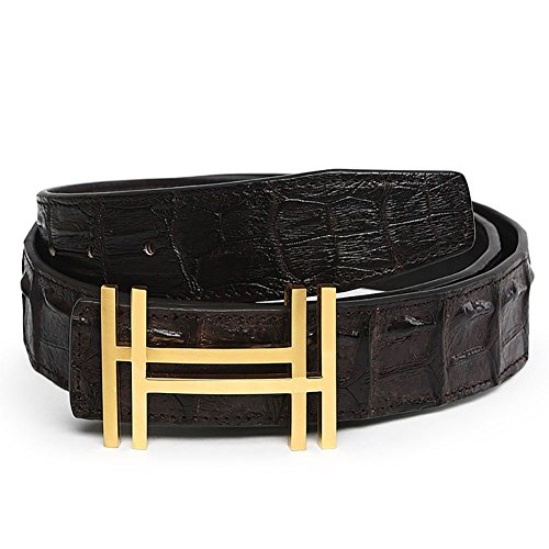 Yuangu Men 's 38mm Luxury HH Top Crocodile Leather Belt (120cm/47.3inch (42-44), Black Gold)