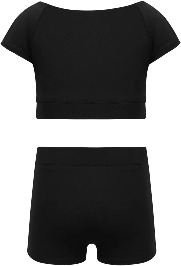 Inlzdz T-shirt court /à manches courtes pour fille avec short pour gymnastique