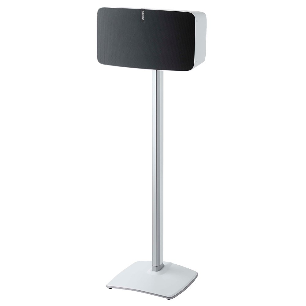 Sanus Speaker Stand for Sonos Play:5 – Audio Enhancing Design for Vertical & Horizontal Orientations with Built-In Cable Management and Premium Aluminum Materials (White) - WSS51-W1