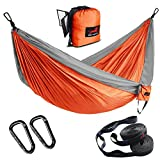 """HONEST OUTFITTERS Single & Double Camping Hammock with Hammock Tree Straps,Portable Parachute Nylon Hammock for Backpacking Travel 78"""" W x 118"""" L Orange/Grey: more info"""