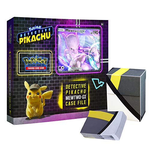 Pokemon TCG: Detective Pikachu Mewtwo-Gx Case File + 6 Booster Pack + A Foil Promo Gx Card + A Oversize Gx Foil Card + 1 Ultra Ball Themed Deck Box -