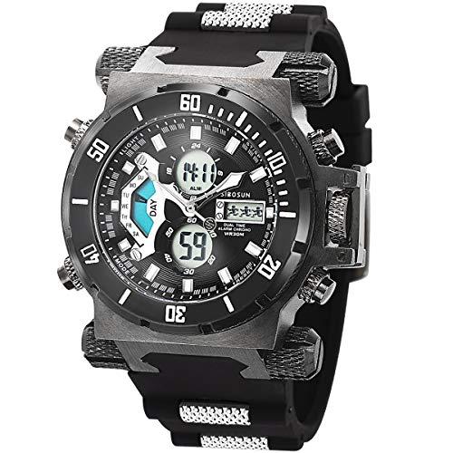 SIBOSUN Sport Watch Digital Wrist Large Face Waterproof Military LED Stopwatch SIBOSUN Men Japanese Quartz Alarm Date Black