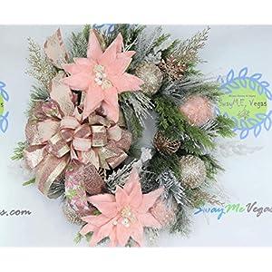 Rose Gold Christmas Wreath, Holiday Door Decor, Pink Poinsettia Wall Hanger, Wedding Floral Arrangement, Unique Hostess Present 72