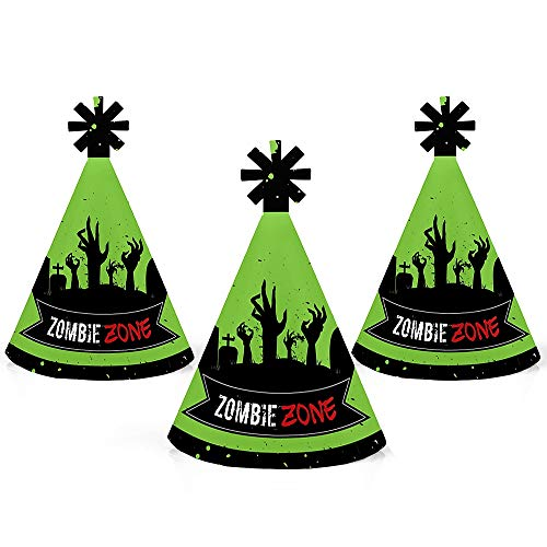 Zombie Zone - Mini Cone Halloween or Birthday Zombie Crawl Party Hats - Small Little Party Hats - Set of 10 -