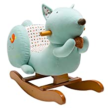 Labebe Wooden Rocking Horse for Toddlers, Boys & Girls Ride-on Toys for 1-3 years old, Stuffed Animal Seat, ASTM/CE/ Safety Certified, Creative Birthday Gift- Blue Squirrel