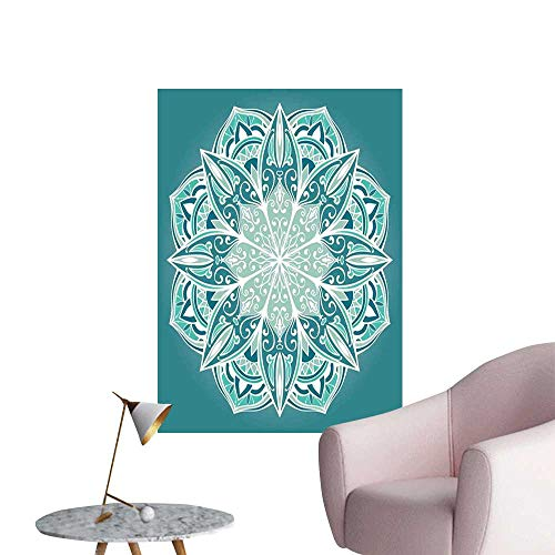 Turquoise 3D Murals Stickers Wall Decals Spiritual Ritual Mandala Symbol Pattern Asian Universe Metaphysical Cosmos Sign 3D Bathroom Decal Teal White W24 x H36 (Celestial Fireplace Screen)