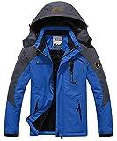 Donhobo Men's Mountain Waterproof Fleece Ski Jacket Windproof Rain Jacket (Blue,S)