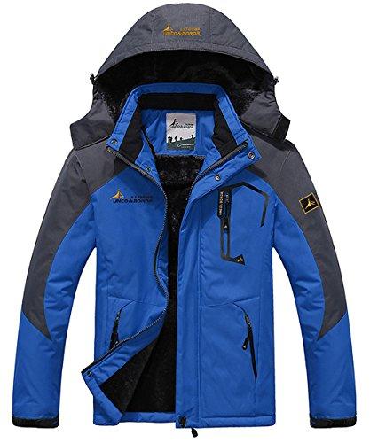 (JINSHI Men's Mountain Waterproof Fleece Ski Jacket Windproof Rain Jacket (Blue,L))