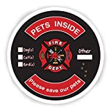 Pet Safety Alert Fire Rescue Adhesive Backed Sticker Decal. Fire and Emergency Pet Notification. (Round, 2-Pack)