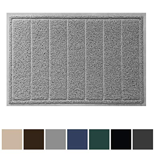 Gorilla Grip Original Durable Indoor Door Mat, 35x23, Large Size, Heavy Duty Doormats, Waterproof Doormat, Easy Clean, Low-Profile Mats for Entry, Garage, Patio, High Traffic Areas, Gray (Low Clearance Garage Doors)