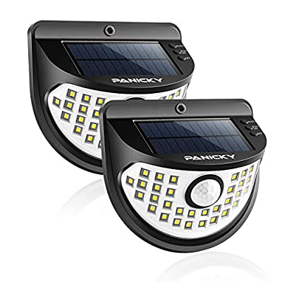 PANICKY Solar Motion Sensor/Stay On Light Outdoor 2 Pack, 800LM IP67 Waterproof 32 LED Night Light with 270° Wide Angle, Easy to Install Solar Powered Security Lights for Door Pathway Garage Garden