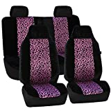 FH GROUP FH-FB126114 Leopard Car Seat Covers, Airbag compatible and Split Bench, 2 Tone Purple Leopard