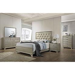 Bedroom Kings Brand Furniture – 6-Piece Champagne Finish with Upholstered Headboard King Size Bedroom Set. Bed, Dresser, Mirror… modern bedroom furniture sets