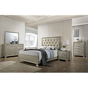 Kings Brand Furniture - 6-Piece Champagne Finish with Upholstered Headboard King Size Bedroom Set. Bed, Dresser, Mirror…