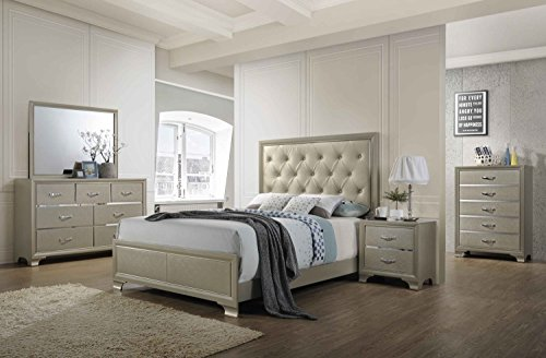 Kings Brand Furniture - 6-Piece Champagne Finish with Upholstered Headboard Queen Size Bedroom Set. Bed, Dresser, Mirror, Chest & 2 Night ()
