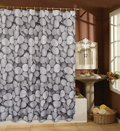 Stones Pebbles 100 90gsm Polyester 180 X Cm Shower Curtain Amazoncouk Kitchen Home
