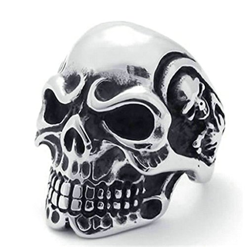 Gnzoe Men's Vintage Gothic Skull Bone Biker Men Stainless Steel Ring Band, Silver, Size 10