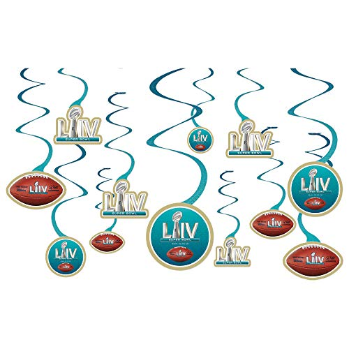 amscan Super Bowl LIV Hanging Swirls (12ct)