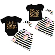 3pcs/Set Baby Twin Sisters Big/Little Print Romper + Dress + Headband Outfits (0-3M, Little)