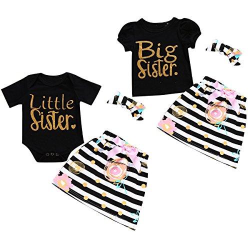 3pcs/Set Baby Twin Sisters Big/Little Print Romper + Dress + Headband Outfits (1T, Big)