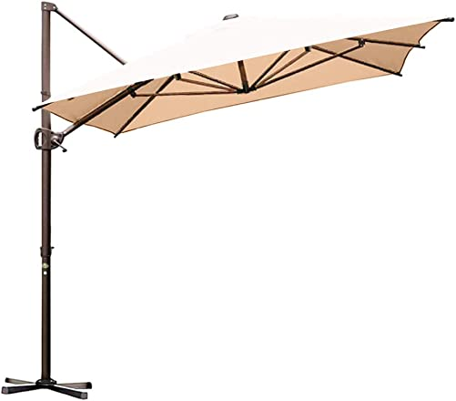Abba Patio Offset Cantilever Umbrella 12.5 by 8-Feet Outdoor Patio Hanging Umbrella with Cross Base, Beige