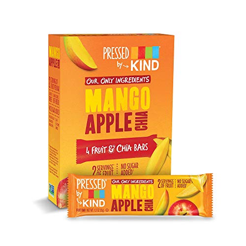 Pressed by KIND Fruit Bars, Mango Apple Chia, No Sugar Added, Gluten Free, 1.2oz, 24 Count