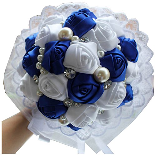 Bridesmaid Wedding Bouquet (2015 New Royal Blue White Wedding Flowers Crystal Bridal Bouquets Lace Pearl Bride Bridesmaid Wedding Bouquet Accept)