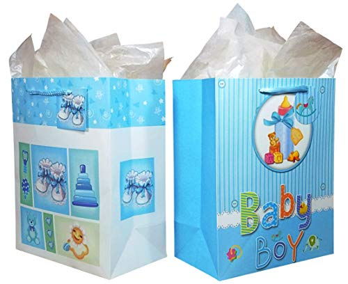 "BagLove Large Baby Boy Gift Bag with Tissue Paper (2 Pack) 10.5"" x 13"" x 5.5"" Perfect for Birthdays, Baptism, Christenings and Baby Showers"