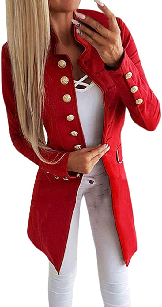 Tomwell Blazer Mujer Manga Larga Abrigo Traje Slim Chaqueta del Traje OL Mujeres Botón de Metal Outwear