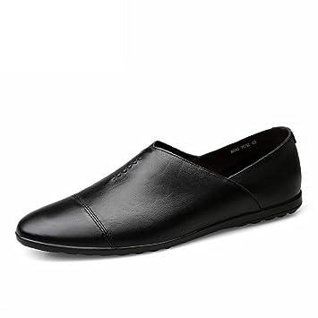 Jiuyue-shoes Mocasines de Cuero de PU para Hombre Deslizamiento de talón Plano en Estilo de conducción Mocasín (Color : Negro, tamaño : 41 EU): Amazon.es: ...