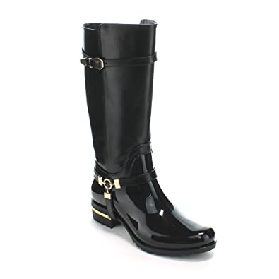 76464fde33ec Forever Clara-25 Womens Fashion Two Tone Knee High Motorcycle Rain Boots ,Black,