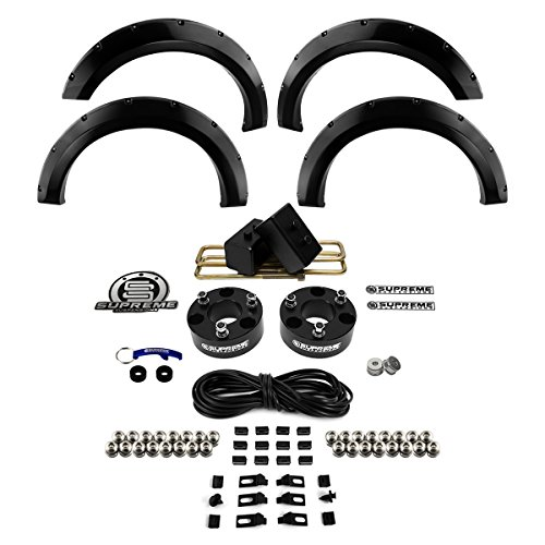 Supreme Suspensions F150 2 5 Front With 2 Rear 2wd Leveling Lift Kit Black Cnc Machined Billet 4x2 Suspension Spacers 4 Piece Paintable Front And Rear Glossy Fender Flares By Spyder Auto