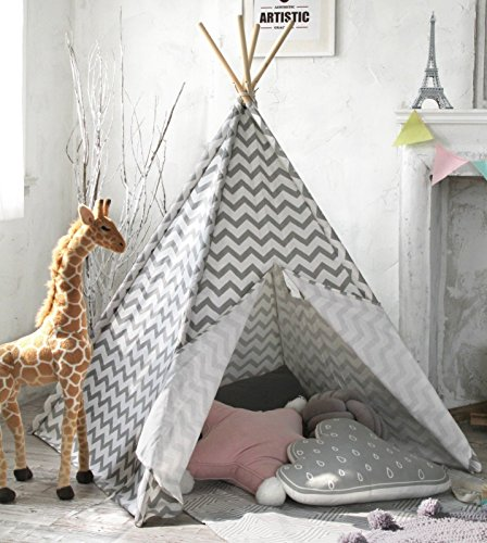 best stem toys for toddlers Kids Teepee Tent for Boys, Children Play Tent for Indoor & Outdoor, 5' Gray Chevron Canvas, by Tiny Land