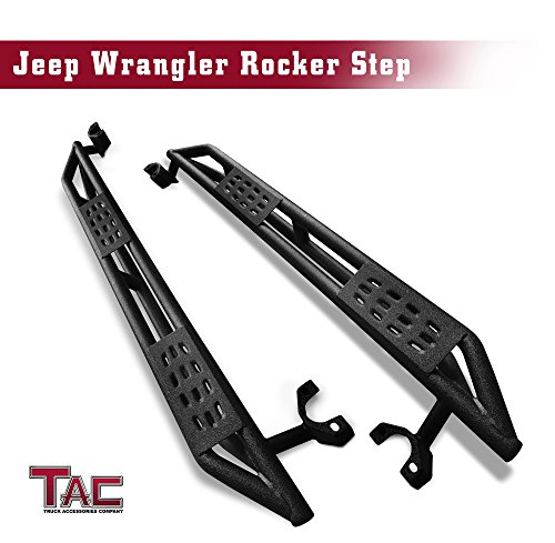 TAC Side Steps Armor Textured Black Off-Road For 2007-2017 Jeep Wrangler JK 4-Door Running Boards Nerf Bars Step Rails Side Bars Off Road Exterior Accessories (2 Pieces Running Boards)