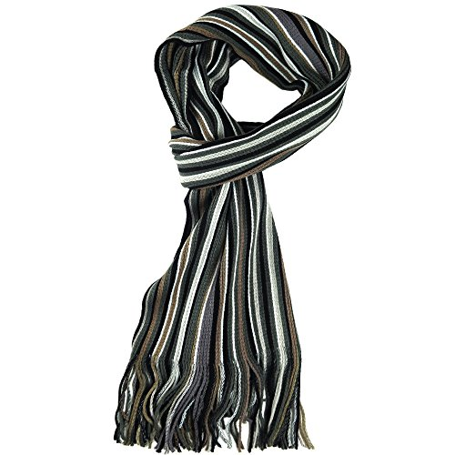 Knit Winter Scarf In 8 Colors, Warm And Soft With Stylish Stripes By Debra Weitzner (Scarf Mens Stripe)