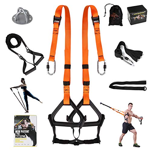 MOULYAN Bodyweight Fitness Resistance Trainer Kit Extension Strap with Anchor Point for Door Pull Up Resistance Bands Easy Setup for Gym Home Equipment Gym Full-Body Travel Outdoors Workouts